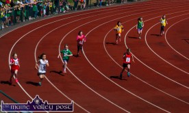 Competitors going hell for leather in one of the opening races of the 2015 Denny Kerry Community Games Athletics Finals at An Riocht AC, Castleisland on Saturday morning. ©Photograph: John Reidy
