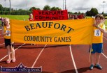 Aoibhínn Coffey and Marc O'Sullivan-Rouse carried the Beaufort banner with pride at the Denny Kerry Community Games Athletics Finals at An Riocht AC, Castleisland on Saturday morning. ©Photograph: John Reidy