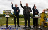 Trice Blessed: Fr. Seán Horgan, Monsignor Dan O'Riordan and Canon Denis O'Mahony giving their blessings at the re-opening of Cordal GAA Club grounds on Sunday afternoon. ©Photograph: John Reidy
