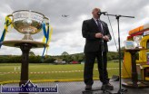 A little aural competition from a Ryanair flight as Kerry County Board vice chairman delivers his speech at the re-opening of Cordal GAA Club grounds on Sunday afternoon. ©Photograph: John Reidy
