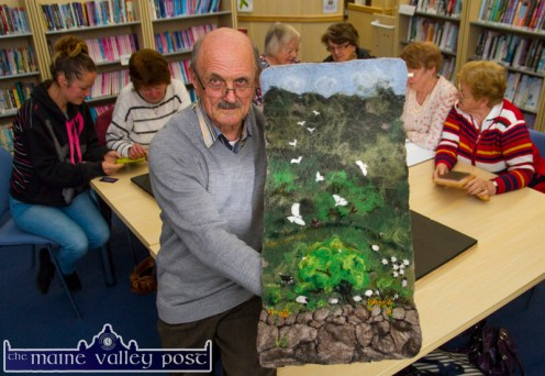 Felt artist and class tutor, Martyn Bell pictured with an example of his artwork during one of his classes at Castleisland Library. Photograph: John Reidy © 2015