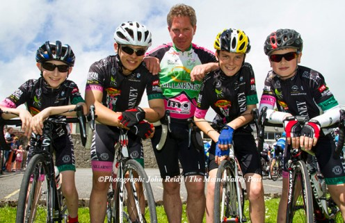 Killarney CC members from left: Lorcan Daly, Eoin Blake, Heiko Dreier, Patrick Galvin and Stefan Dreier pictured at the Kerry Youth Cycling Initiative workshop in Castleisland. ©Photograph: John Reidy