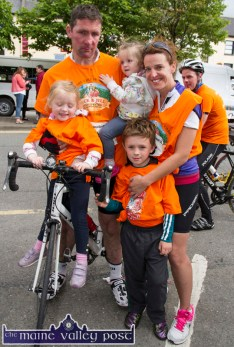 Ted and Fiona Clifford who have personal experience of the care and expertise of the Jack and Jill Foundation pictured with their children: Chloe, Bella and Conor after the second annual Longest Day Cycle/Climb/Cycle Challenge in Castleisland on Saturday evening. ©Photograph: John Reidy