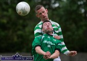 The accidental, aerial clash between Castleisland AFC's Mike Hanifin and Listowel Celtic's Kevin McCarthy which resulted in Hanifin's severe head wound in the first half of the drawn Greyhound Bar Cup Final at Mounthawk Park, Tralee on Friday night. ©Photograph: John Reidy