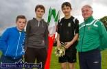 Shane Coffey, Leo O'Connor, Páraic O'Connor and Georgie O'Callaghan collecting the flags after the annual Castleisland KDYS / Garda Soccer League. ©Photograph: John Reidy