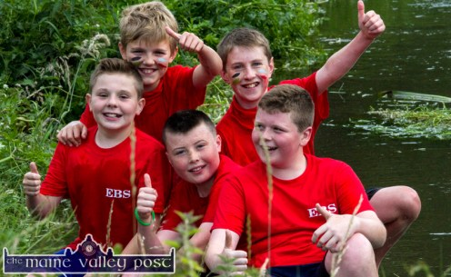 Boys being boys: Castleisland lads enjoying the fun and games at HercOileán - The Island Warrior Challenge at An Riocht AC in Castleisland on Saturday morning. Included are, from left: Mark Hickey, Matthew Horgan, Conor Walsh, Eamonn O'Connor and Luke Regan. ©Photograph: John Reidy