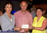 Castleisland Race Committee member, Martin Conway presenting a cheque for €2,100 to Miriam McElligott (left) and Kate O'Mahony who accepted on behalf on the Castleisland Senior Citizens Committee at the annual, post races presentation of cheques at Tom McCarthy's Bar on Friday night. ©Photograph: John Reidy