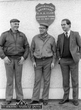 Donal Lucey (left) pictured with Michael O'Connell and Tadhg McGillicuddy pictured at the Moanmore headquarters at a Desmonds' team training session. ©Photograph: John Reidy 17-2-1985