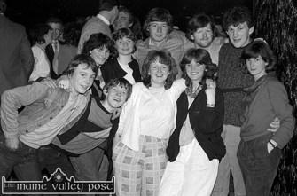 At the All-Ireland Club Football Championship team celebration night at Woodies Hotel were: Nick Kerins, Denis Nolan, Karen Nolan, Helena Moran and Kathy O'Grady. Back row: Paulette Leonard, ------O'Connor, Dan Hickey, Mike Kenny and ----- ©Photograph: John Reidy 29-3-1985.