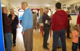 Opening up discussions: Locals discussing topics of history at an exhibition of taster samples from the extensive historical archive left by the late Michael O'Donohoe, NT at No.32 Main Street, Castleisland on Saturday. Photograph: Janet Murphy