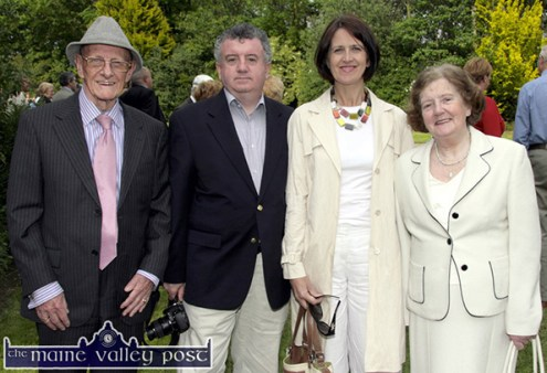 A great Listowel day: Danny Hannon (left) pictured with: Conor, Marie and Mary Keane at the unveiling of the sculpture in honour of the late Dr. John B. Keane in the Garden of Europe in Listowel. ©Photograph: John Reidy 25/05/2008