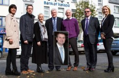 Castleisland Bank of Ireland branch manager, Paddy Garvey (centre) pictured with members of his Enterprise Town Expo committee: Liz Galwey (left) is pictured with: Bill Costello, Jill Hannon, Mr. Garvey, Donal O'Connor, Denis O'Donovan and Lisa Geaney. Inset: Committee member, James Kelliher who wasn't available when the photograph was taken. ©Photograph: John Reidy