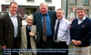 Jim Barry - who had just celebrated his 90th birthday pictured at the funeral of Michael Doyle with Mick Galwey, Moss Keane, Cllr. Bobby O'Connell and Michael McElligott. ©Photograph: John Reidy 4-8-2002