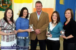 Award recipients pictured with former pupil and guest of honour, Mick Galwey at 2006 Castleisland Community College awards ceremony. Included are: Christina Fleming, (left) with: Joanne Brosnan, Kate McSweeney and Suzanne Galvin. ©Photograph: John Reidy 27/10/2006