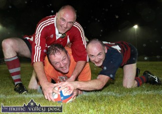 Grounded: Mick Galwey gets over the line with former team-mates, Dan Casey (left) and Bill Horgan in a Golden Oldies friendly to celebrate the new surface and floodlighting at The Crageens - the famed Castleisland Rugby Club grounds. ©Photograph: John Reidy 30/08/2008