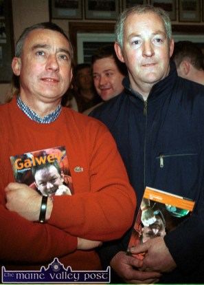 Attending the Mick Galwey book launch at Castleisland Rugby Club were Kerry football stars: Denis Ogie Moran and Charlie Nelligan. ©Photograph: John Reidy 08/12/2002