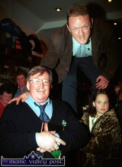 By the Book: Mick Galwey is joined by Mick Doyle at the launch of his autobiography in Castleisland. ©Photograph: John Reidy 08/12/2002