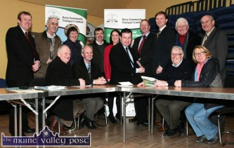 In the thick of the action: The late Bernard Collins (back second from left) with Minister of State at the Department of Transport, Tourism and Sport, Alan Kelly, TD pictured with colleague, Arthur Spring, TD and members of the Kerry Community Transport Board at a meeting at the Heritage Centre in Scartaglin on Thursday. Included are seated: Christy Murphy, John Joe O'Brien, Minister Kelly, Jack Roche and Jacqui Browne. Back from left: Alan O'Connell, operations manager; Bernard Collins, Hilary Scanlan, Stuart Stevens, Carmel Walsh, general manager; George Kelly, Deputy Spring, John Kelly and Brendan O'Connor. ©Photograph: John Reidy 26-1-2012