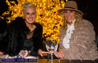 Show MC, Orlagh Winters (left) relaxing before the show with, Lisa Martin, Tralee at the Castleisland Fashion Capital of Kerry show at Nana Bea's Restaurant and Coffee Shop on Thursday night. ©Photograph: John Reidy