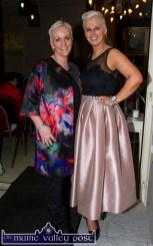 Jill Hannon, Hannon's Castleisland (left) and show MC Orlagh Winters at the Castleisland Fashion Capital of Kerry show at Nana Bea's Restaurant and Coffee Shop on Thursday night. ©Photograph: John Reidy