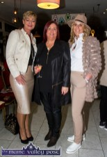 Margaret Brick, Connect Kerry (centre) pictured with: Olivia Wall (left) and Lisa Martin, Tralee at the Castleisland Fashion Capital of Kerry show at Nana Bea's Restaurant and Coffee Shop on Thursday night. ©Photograph: John Reidy