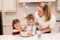 Maria Brosnan has made child's play of making cookies with her range of Bake it Easy! products. Here, her children Emma and Ben get stuck in under her watchful gaze.