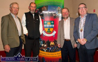 At the Kerry County Council Writer in Residence farewell night were from left: Noel Keane, Ballymacelligott; Kevin Griffin, Killorglin, Noel King, Tralee and Mayor of Killarney Municipal Area, Cllr. Bobby O'Connell at the Ivyleaf Art Centre in Castleisland on Friday night. ©Photograph: John Reidy