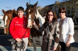 Danny Frazer from Ennis pictured with locals: Síle Kerley and Mary Fitzgerald at the annual November Horse Fair in Castleisland on Monday afternoon. ©Photograph: John Reidy