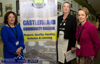 Waiting to greet their visitors at the Castleisland Community College Open Night were from left: Noreen Barrett with Deputy Principal Teresa Lonergan and Principal Carmel Kelly. ©Photograph: John Reidy