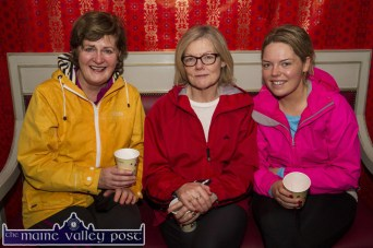 Teresa O'Leary (left) with Patricia and Norielle O'Leary relaxing after the Christmas morning GOAL MIle at An Riocht AC. ©Photograph: John Reidy