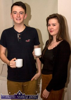 Tea before tunes: Conor Daly, Rockchapel and Maura O'Connor, Abbeyfeale relaxing with a cup of tea before the November 21th Handed Down programme in Scartaglin. ©Photograph: John Reidy