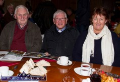 Michael Broderick pictured with Canon Denis O'Mahony and Sheila Kearney at the launch of the Castleisland Parish Magazine at the River Island Hotel. ©Photograph: John Reidy