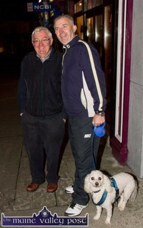 Local undertaker, Bernard Tangney on a night off with Tom McCarthy and 'Taylor' at the Castleisland Chamber Alliance Christmas Street Party on Friday night. ©Photograph: John Reidy