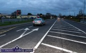 Clear road markings indicating the entrance to the Tralee Road Industrial Estate opposite Walsh Colour Print. ©Photograph: John Reidy