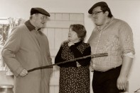 Joan O'Connell as Mena Glavin with Richie Roche (left) as Thomasheen Seán Rua and Séamus Lane as Mike Glavin in the Abbeyfeale Drama Group adaptation of John B Keane's Sive which is due to open its run on February 16th. Photograph: Paul Ward.