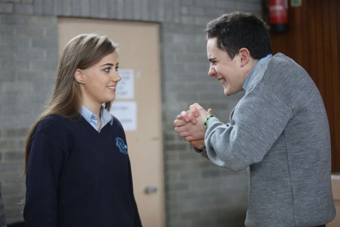 Transition year students, Alison Jones and Daniel Culloty, from Presentation and St. Patrick's Secondary Schools, Castleisland, enjoying a drama workshop with Drama Facilitator, Marie de la Gueronniere, part of Kerry County Council's Arts Department outreach programme. Photograph: Valerie O'Sullivan