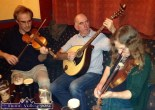 Martin Van Hensbergen, Holland on fiddle with PJ Teahan, Castleisland on Mandola and Kathy Cook, Ballydehob on fiddle at Kearney's Bar on the opening night of the 2014 Patrick O'Keeffe Traditional Music Festival in Castleisland. ©Photograph: John Reidy 24-10-2014