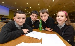 Tralee Credit Union Annual Schools Quiz 2016 took place in the Brandon Hotel Tralee over the weekend . Pictured were Scoil Nuachabhail Ballymac elligott : Sean Rice , Michael Culloty , Roisin Rahilly and Evan Boyle .. Photo By : Domnick Walsh © Eye Focus LTD ©
