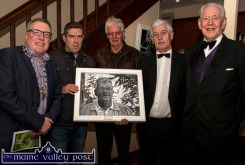 Launching local artist, Kevin Barry's exhibition in conjunction with the Kerry Drama Festival were from left: Mayor of the Killarney Municipal Area, Cllr. Bobby O'Connell, Kevin Barry, Joe Martin, Jerome Stack, festival director and Michael Twomey festival adjudicator. ©Photograph: john Reidy
