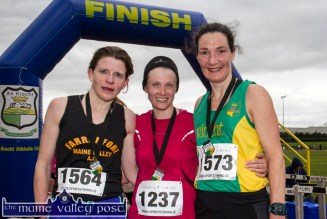 The first three women home in the the annual An Riocht AC / Lee Strand Kingdom Come 10 Miler and 5K Road Race in Castleisland this morning. First: Deirdre Nagle, Eagle AC, Cork (centre) ; Second: Sharon Cahill, An Riocht AC (right) and Caitriona Barry, Farranfore Maine Valley AC in third. ©Photograph: John Reidy