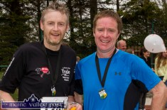Kilmoyley runners, Pádraig O'Regan (left) and Gerald O'Carroll pictured after the annual An Riocht AC / Lee Strand Kingdom Come 10 Miler and 5K Road Race in Castleisland this morning. ©Photograph: John Reidy