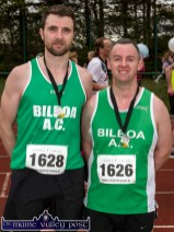 Limeric athletes, John Kinsella (left) and Barry O'Brien from the Bilboa club after completing the annual An Riocht AC / Lee Strand Kingdom Come 10 Miler and 5K Road Race in Castleisland this morning. ©Photograph: John Reidy