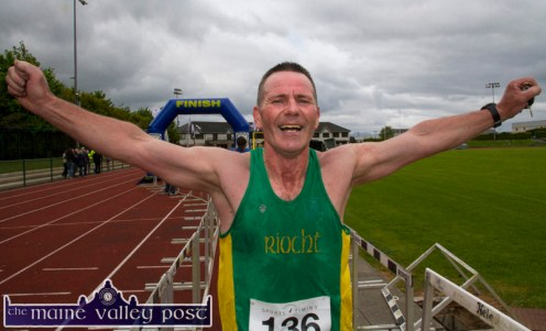 An elated An Riocht AC athlete Willie Guiney, Listowel shaved three minutes off his 2014 time at the 2015 An Riocht AC / Lee Strand Kingdom Come 10 Miler and 5K road race in Castleisland. ©Photograph: John Reidy