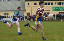 T.J. O'Connor in full flight during the Div. 3A Minor Final against Annascaul/Lispole on Friday.
