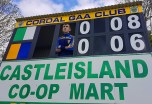 Cathal O'Donoghue eagerly watching the St. Kierans V Feale Rangers game last Sunday from the scoreboard. Photograph: Cúl Photos / Nora Fealey.