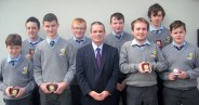 Attendance Award winners, front from left: Eoghan Kenny, Padraig Brosnan, Principal Denis O'Donovan, Sean O'Keeffe and Joseph McCarthy. Back from left: Conor O'Shea, Tommy Curtin, Darragh O'Connor and Dylan Browne.