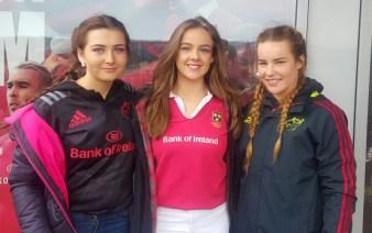 Pres girls at Thomond Park on Saturday. From left: Tamara Horan, Kerrie McCarthy, Andrea Murphy.