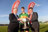 Paulie O'Donoghue South Kerry Captain and current holder of the championship with Donnchadh Walsh, Mid Kerry and Johnny Buckley, Dr Crokes at the championship launch at Austin Park,Tralee. Photograph: Don MacMonagle