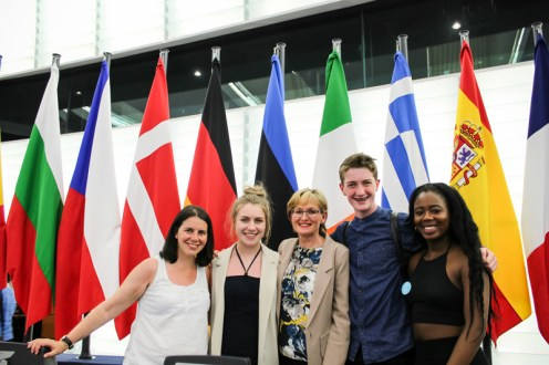 Madeleine Frissung KDYS, Eimear Horgan, Mairead McGuiness MEP, Barry Sugrue, Aisha Lawal inside the European Parliament Chamber