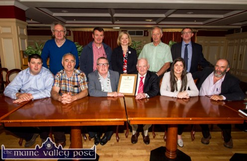 Killarney Municipal District Mayor, Cllr. Bobby O'Connell presenting Coolavanny Bingo owner/ trainer, Noel Browne with a certificate during the civic reception in his honour during the special meeting at the River Island Hotel, Castleisland on Wednesday. Included are, front row: Cllr. Niall Kelliher, Cllr. John Joe Culloty, Mayor O'Connell and Mr. Browne, Cllr. Maura Healy Rae, reception proposer and Danny Healy Rae, TD. Back from left: Cllr. Michael Gleeson, Cllr.John Sheahan, Angela McAllen, Head of Finance, Kerry County Council; Cllr. Brendan Cronin and Liam Quinlan, Kerry County Council Senior Executive Officer, Corporate Services. ©Photograph: John Reidy